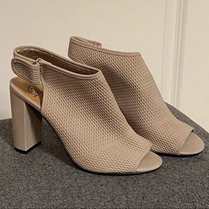Taupe Neutral Open Toe Ankle Block Heel Bootie 9